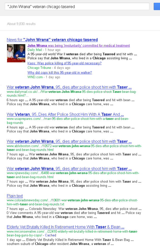 google first page results John Wrana 95 year old tasering